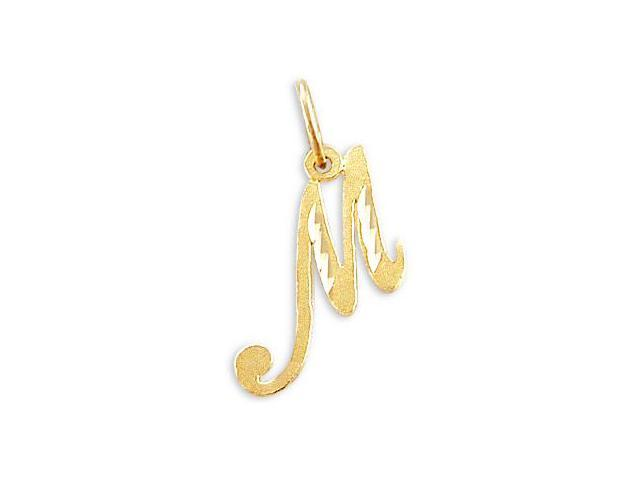 Cursive M Initial 14k Yellow Gold Letter Pendant Solid