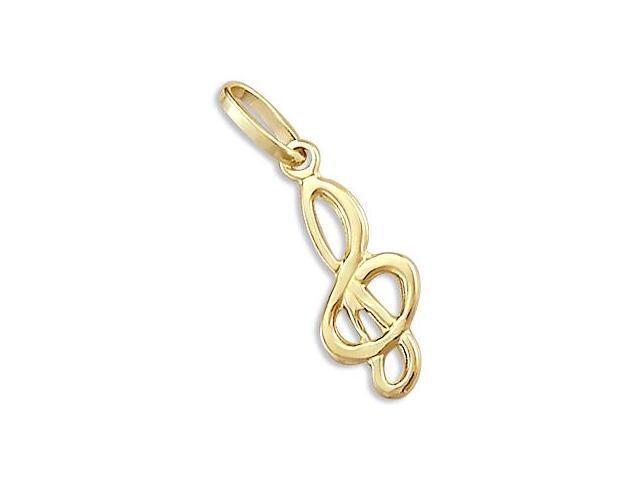 Music Symbol Pendant 14k Yellow Gold Treble Clef Charm