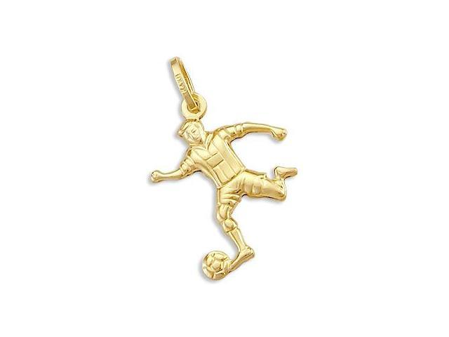 Playing Soccer Pendant 14k Yellow Gold Man Boy Charm