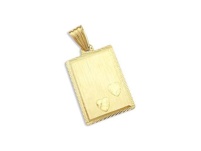 Heart Dog Tag Plate Pendant 14k Yellow Gold Charm