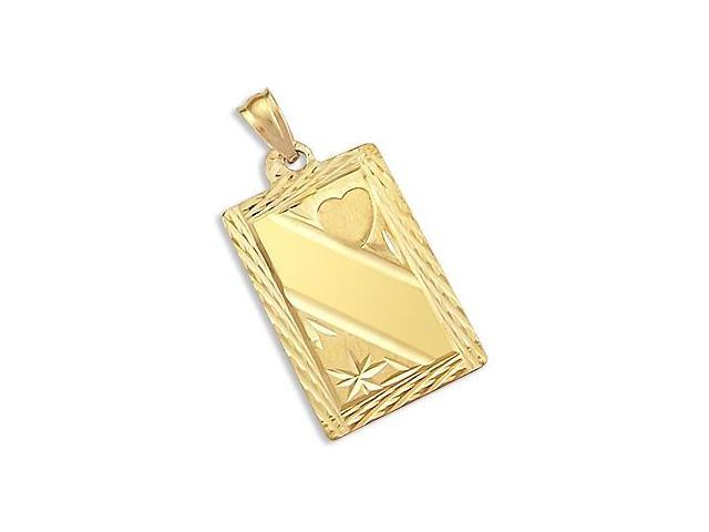 Heart Dog Tag Name Plate Pendant 14k Yellow Gold Charm