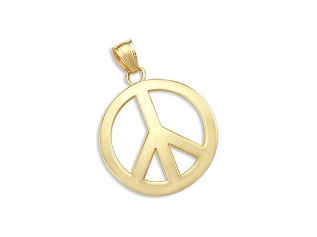 PEACE Pendant 14k Yellow Gold Symbol Sign
