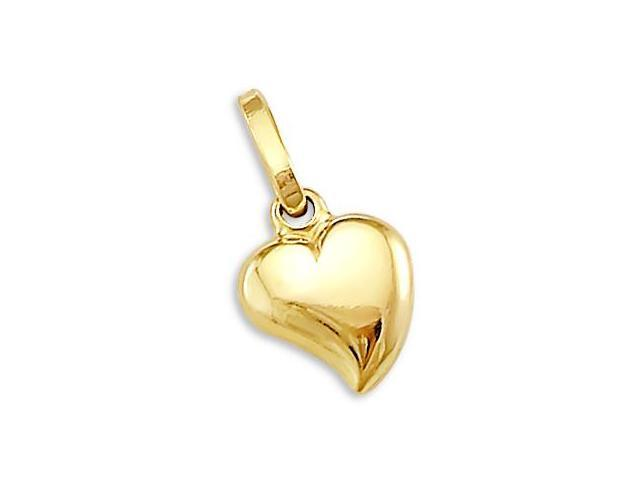 Heart Pendant 14k Yellow Gold Charm 3D 1/2 inch