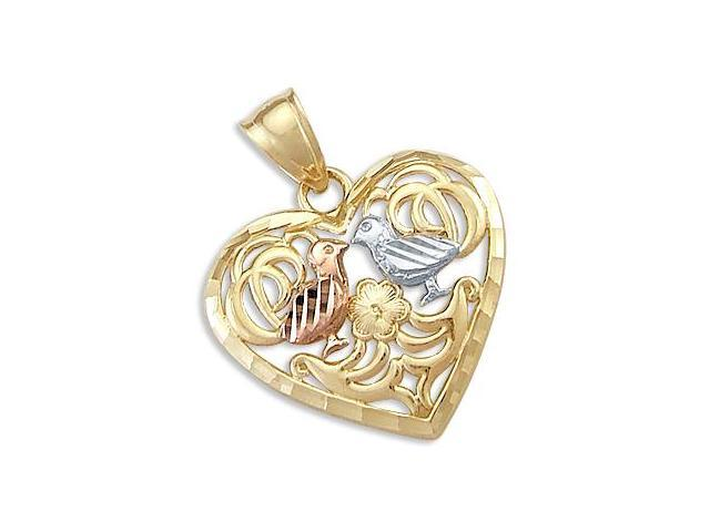 Love Birds Kissing Pendant 14k Yellow Rose White Gold Heart