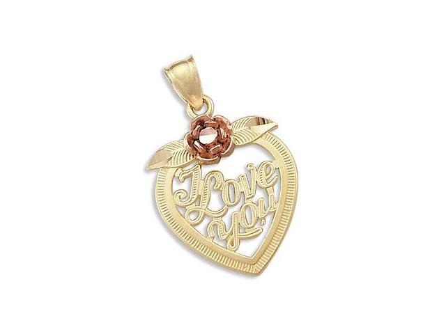 Heart I Love You Pendant 14k Yellow Rose Gold Charm