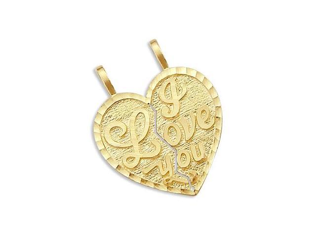 I Love You Breakable Two Heart Pendant 14k Yellow Gold Charm