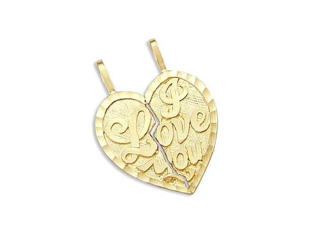I Love You Breakable Pendant 14k Yellow Gold Two Heart Charm