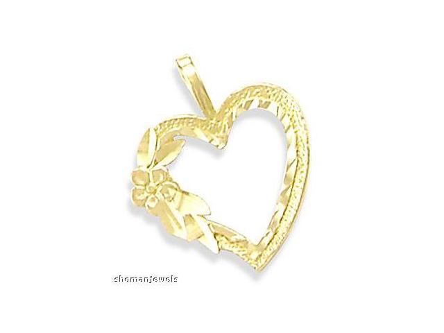 Heart Pendant 14k Yellow Gold Flower Charm