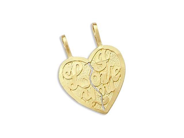 I Love You Breakable Charm 14k Yellow Gold Two Heart Pendant