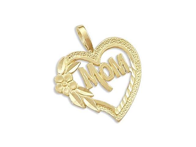 MOM Heart Flower Pendant 14k Yellow Gold Charm