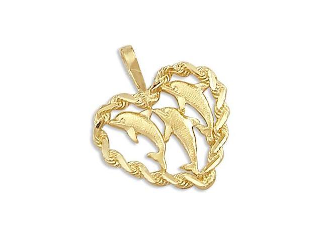 Three Dolphins Heart Rope Pendant 14k Yellow Gold Charm