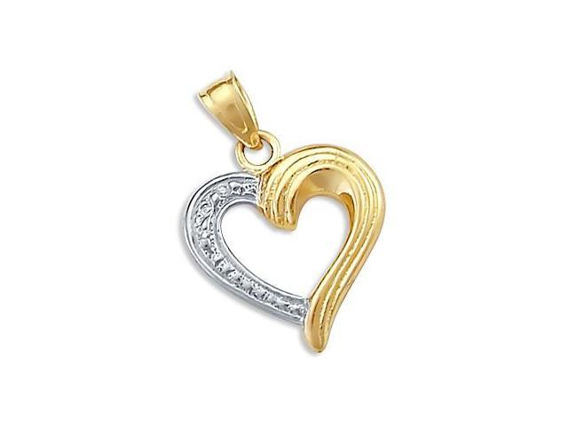Heart Charm Pendant 14k Yellow and White Gold Two Tone
