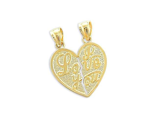 Breakable I Love You Heart Pendant 14k Yellow Gold Charm