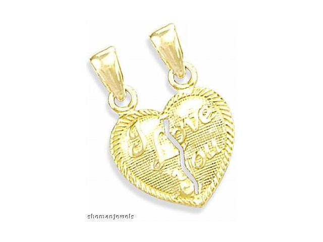 Breakable Heart Pendant I Love You 14k Yellow Gold Charm