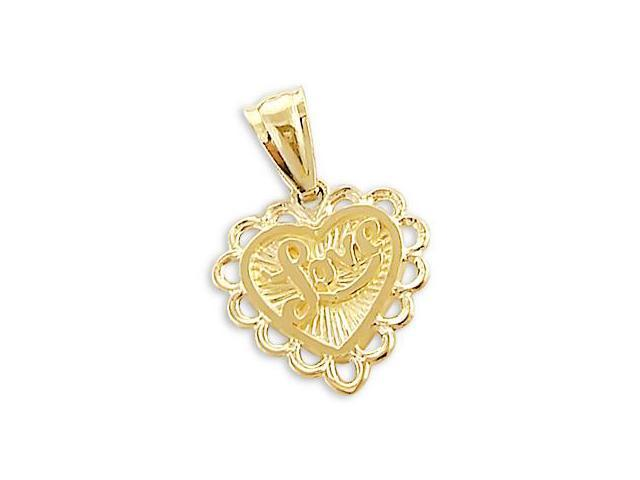 Love Heart Charm Pendant 14k Yellow Gold Small