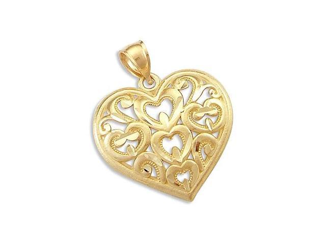 Hearts Pendant 14k Yellow Gold Fashion Love Charm 1.00 inch