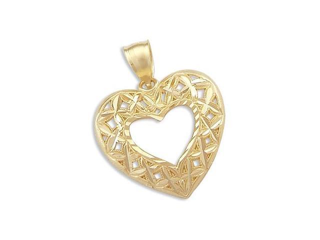 Heart Pendant 14k Yellow Gold Love Charm 1.00 inch