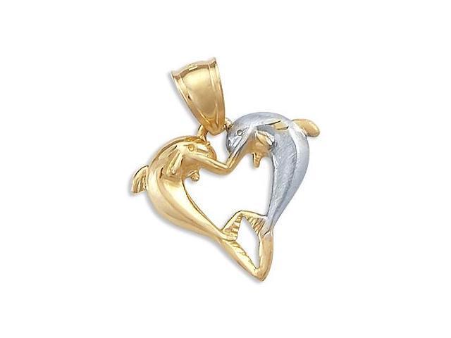 Dolphin Heart Pendant 14k Yellow White Gold Charm