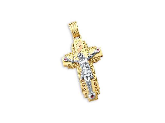 Crucifix Cross Pendant 14k Yellow Gold White Gold Charm 2.00 inch
