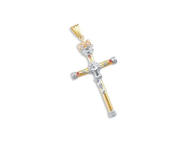 Ruby Crucifix Crown Pendant 14k Rose White Yellow Gold Charm
