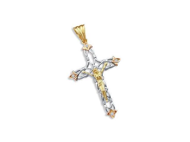 Cross Crucifix Pendant 14k Yellow White Rose Gold 2.25 inch