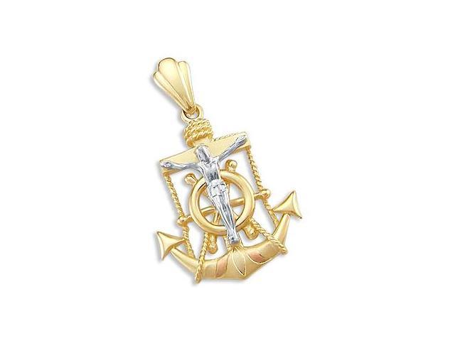 Cross Crucifix Anchor Pendant 14k Yellow White Gold Charm 1.50 inch