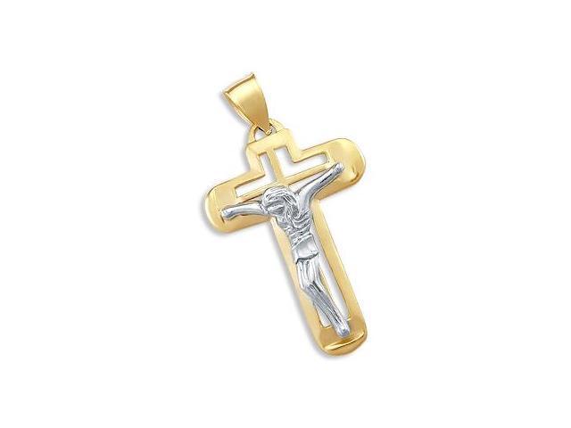 Crucifix Cross Pendant 14k Yellow White Gold Large Charm 2.00 inch