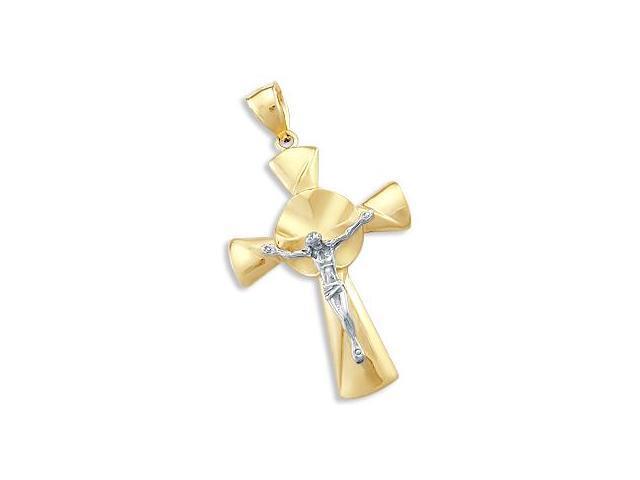 Crucifix Cross Pendant 14k White Yellow Gold Fashion Charm 2.00 inch