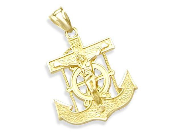 Anchor Crucifix Pendant 14k Yellow Gold Charm