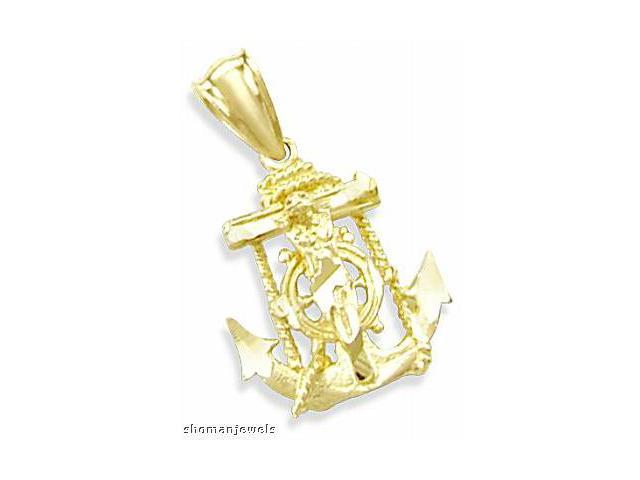 Crucifix Anchor Pendant 14k Yellow Gold Charm 1.00 inch