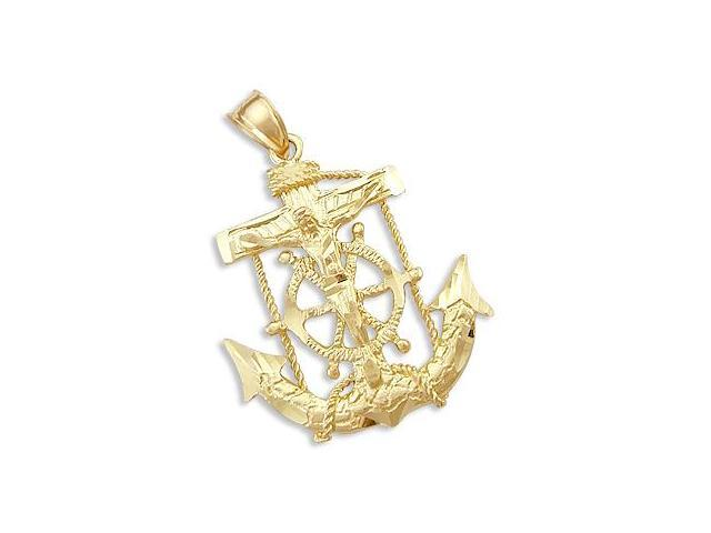 Anchor Cross Crucifix Pendant 14k Yellow Gold Charm Large 1.75 inch