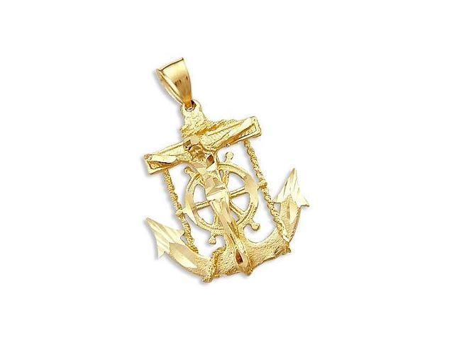Cross Crucifix Anchor Pendant 14k Yellow Gold Charm 1.50 inch