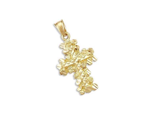 Nugget Cross Pendant 14k Yellow Gold Charm