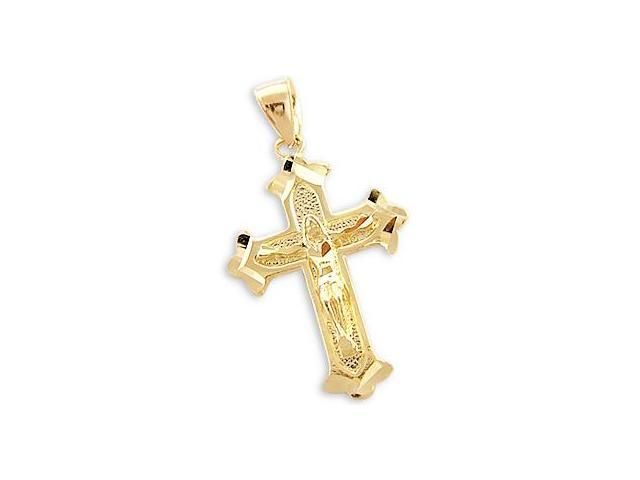 Crucifix Cross Pendant 14k Yellow Gold Charm 1.50 inch