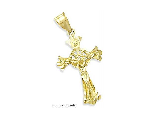 Cross Crucifix Pendant 14k Yellow Gold Charm Solid 1.50 inch