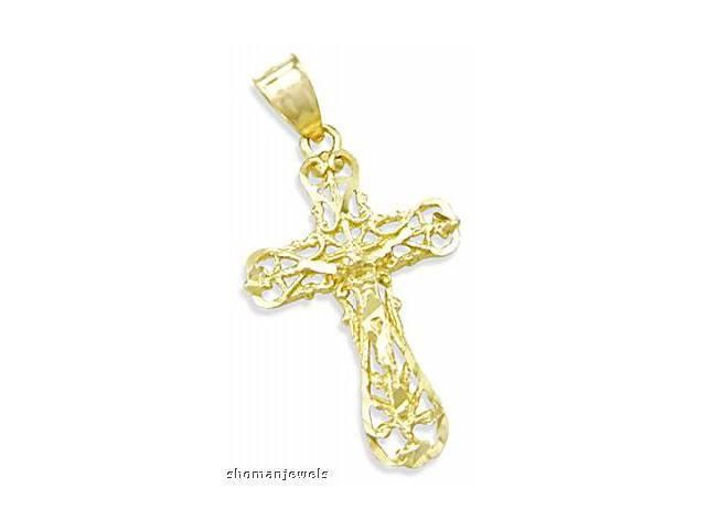 Cross Crucifix Pendant 14k Yellow Gold Solid Charm 1.50 inch