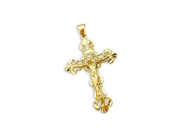 Crucifix Cross Pendant 14k Yellow Gold Big Charm 2.25 inch