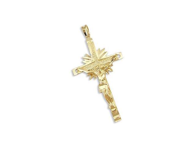 Crucifix Cross Pendant 14k Yellow Gold Fashion Charm 1.50 inch
