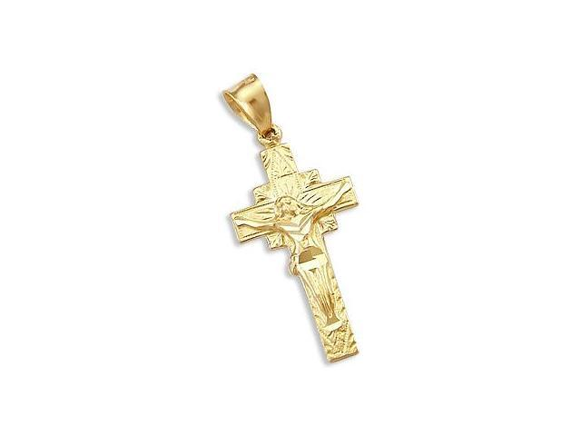 Crucifix Cross Pendant Solid 14k Yellow Gold Charm 1.50 inch