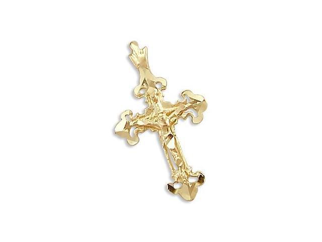 Nugget Cross Pendant Solid 14k Yellow Gold Charm Religious 1.00 inch