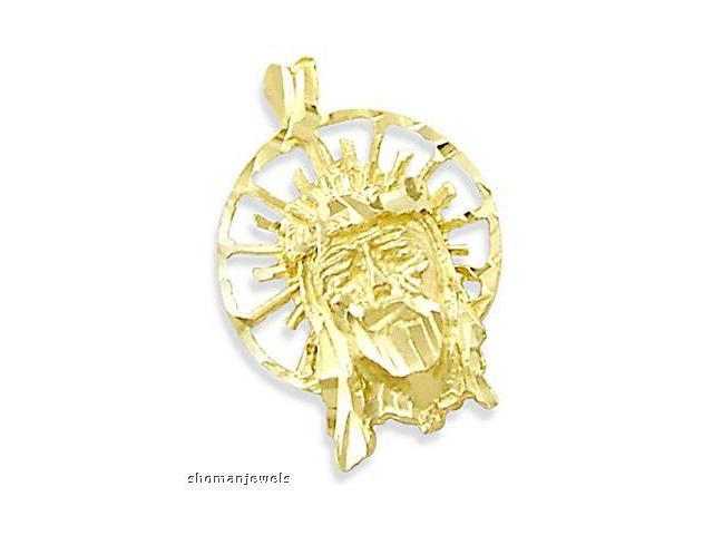 Jesus Face Charm Pendant Solid 14k Yellow Gold
