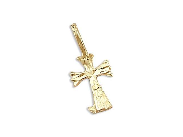 Small 14k Yellow Gold Cross Crucifix Charm Pendant