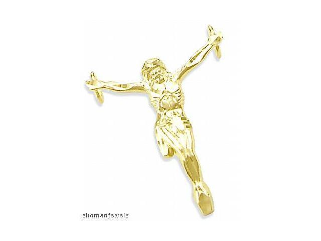 Crucifix Jesus Pendant 14k Yellow Gold Cross Charm 1.25 inch