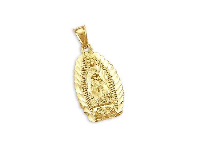 Virgin Mary Charm Guadalupe Pendant 14k Yellow Gold