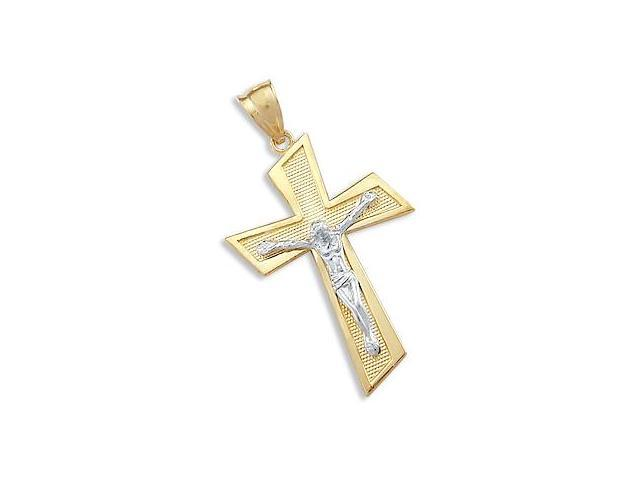 Crucifix Cross Pendant 14k Yellow Gold and White Gold Charm 1.50 inch