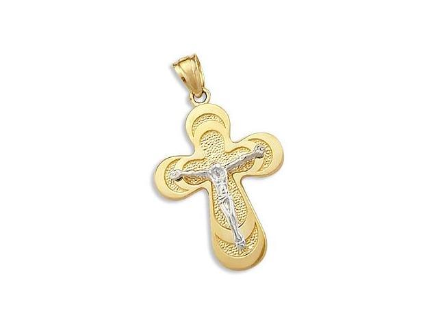 Crucifix Pendant 14k Yellow and White Gold Cross Charm