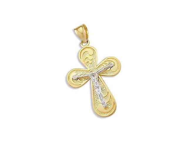 Cross Crucifix Pendant Solid 14k White Yellow Gold Charm 1.25 inch