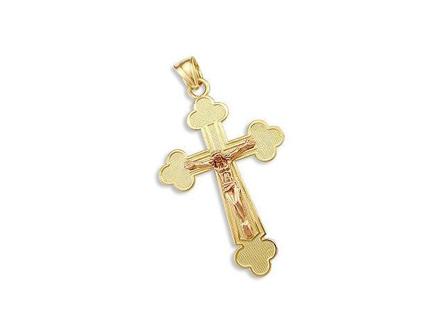Crucifix Cross Pendant 14k Yellow Gold and Rose Gold Charm 1.75 inch