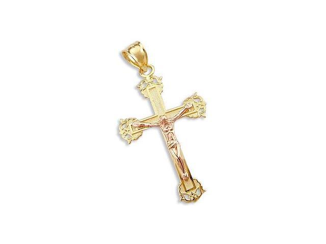 Crucifix Cross Pendant 14k Yellow Gold and Rose Gold Charm 1.50 inch
