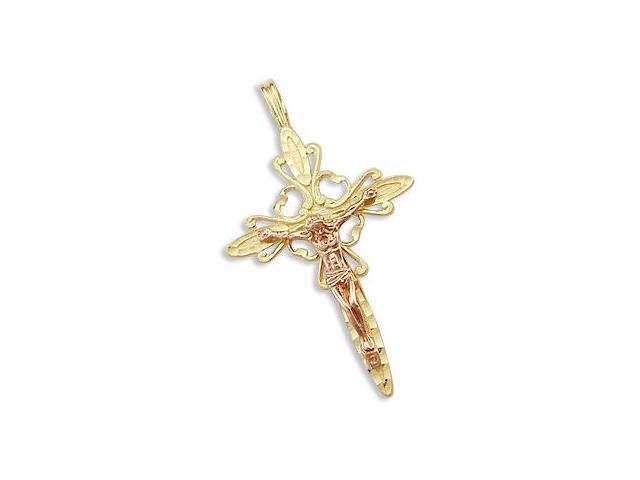 Cross Crucifix Pendant 14k Yellow Rose Gold Jesus Charm 1.50 inch